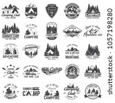 set of summer camp badges with... | Shutterstock .eps vector #1057198280