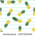 summer fresh pineapple stripe... | Shutterstock .eps vector #1057202969