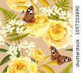 seamless vintage flowers | Shutterstock .eps vector #1057203890