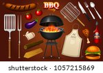 barbecue grill elements set... | Shutterstock .eps vector #1057215869