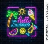 neon summer poster with... | Shutterstock .eps vector #1057216628