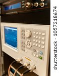 Small photo of Electronic oscilloscope. Measuring the electric signal with electronic oscilloscope in research laboratory.