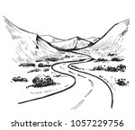 sketch of a landscape with a... | Shutterstock .eps vector #1057229756