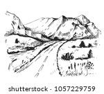 sketch of a landscape with a... | Shutterstock .eps vector #1057229759