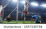 soccer game moment  on... | Shutterstock . vector #1057230758