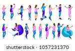 isometrics of teenage girls ... | Shutterstock .eps vector #1057231370