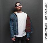 hipster handsome male model... | Shutterstock . vector #1057235600