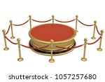 a golden round podium with rope ... | Shutterstock . vector #1057257680