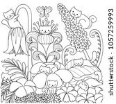 hand drawn happy cats in floral ... | Shutterstock .eps vector #1057259993