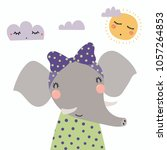 Stock vector hand drawn vector illustration of a cute funny elephant girl in a shirt with a ribbon with sun 1057264853