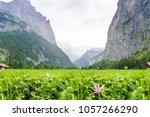 alpine meadow with green grass... | Shutterstock . vector #1057266290