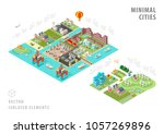set of isolated isometric... | Shutterstock .eps vector #1057269896