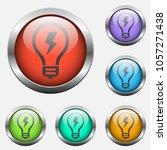 light bulb vector icon on color ...