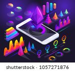 isometric holographic diagrams  ... | Shutterstock .eps vector #1057271876