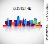 cleveland skyline silhouette in ... | Shutterstock .eps vector #1057272038