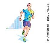 vector runner drawing by hand...   Shutterstock .eps vector #1057275116