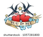 retro tattoo style swallows and ... | Shutterstock .eps vector #1057281800