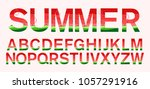watermelon fonts in paper cut... | Shutterstock .eps vector #1057291916
