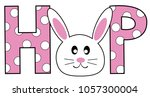 happy easter hop bunny | Shutterstock .eps vector #1057300004