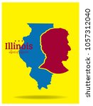 illinois map with nickname land ... | Shutterstock .eps vector #1057312040