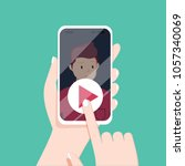 video call with loved one.... | Shutterstock .eps vector #1057340069