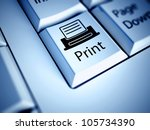 keyboard with print button ... | Shutterstock . vector #105734390