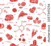 seamless pattern with foods...   Shutterstock .eps vector #1057345256