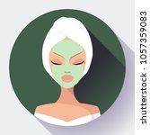 spa woman applying facial... | Shutterstock .eps vector #1057359083