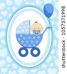 a little boy in a blue stroller.... | Shutterstock .eps vector #1057371998