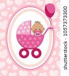a little girl in a pink... | Shutterstock .eps vector #1057373300