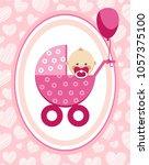 a little girl in a pink... | Shutterstock .eps vector #1057375100