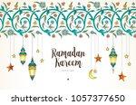 vector ramadan kareem cards.... | Shutterstock .eps vector #1057377650