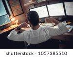 rear view at stock trader... | Shutterstock . vector #1057385510