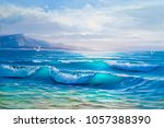 blue  tropical sea and beach... | Shutterstock . vector #1057388390