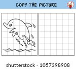 jumping dolphin. copy the... | Shutterstock .eps vector #1057398908