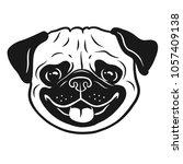 pug dog black and white hand... | Shutterstock .eps vector #1057409138