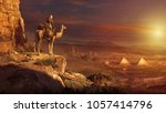 silhouette over the great... | Shutterstock . vector #1057414796
