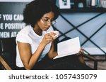 skilled dark skinned student... | Shutterstock . vector #1057435079
