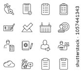 thin line icon set   check... | Shutterstock .eps vector #1057441343