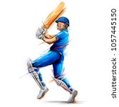 illustration of batsman playing ... | Shutterstock .eps vector #1057445150