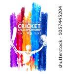 illustration of batsman playing ... | Shutterstock .eps vector #1057445204