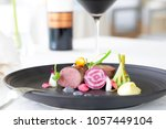 exquisite dish served on the...   Shutterstock . vector #1057449104