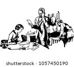 busy office scene   retro clip... | Shutterstock .eps vector #1057450190