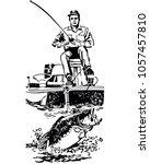 bass fisherman in boat   retro... | Shutterstock .eps vector #1057457810