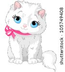 Stock vector illustration of fluffy white cat with pink bow 105749408
