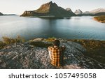 traveler man relaxing with sea... | Shutterstock . vector #1057495058