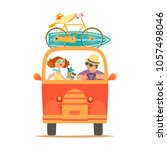 travelling by car icon. young... | Shutterstock .eps vector #1057498046