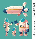 vector spaceman family  people... | Shutterstock .eps vector #1057506470