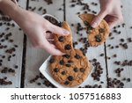 large oatmeal raisin cookies... | Shutterstock . vector #1057516883