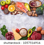 healthy food and superfood... | Shutterstock . vector #1057516916
